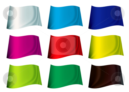 Colourful flag stock vector clipart, Brightly coloured plain flag fluttering in the wind by Michael Travers