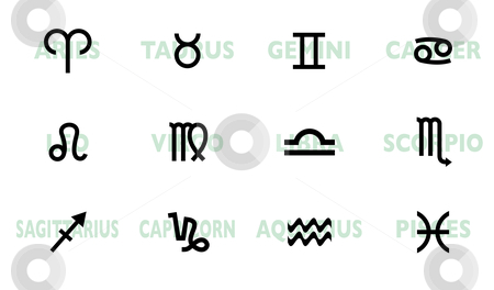 Horoscope names and symbol stock vector clipart, Collection of horoscope signs and symbols with names by Michael Travers