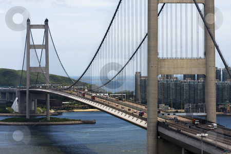 Tsing Ma Bridge in Hong Kong  stock photo, Tsing Ma Bridge in Hong Kong at day by Keng po Leung