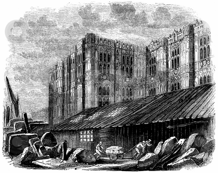 Houses of Parliament stock photo, Engraving of Westminster Palace showing construction of unfinished South Wing of the Houses of Parliament, London, England. Published by Charles Knight in book,