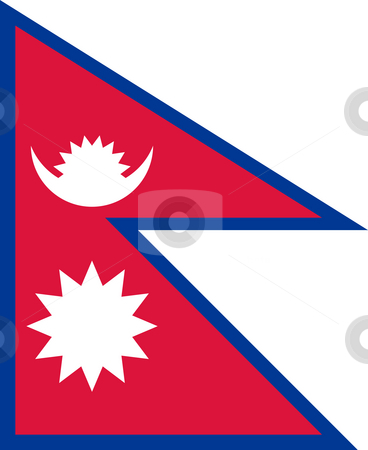 Nepal Flag stock photo, Sovereign state flag of country of Nepal in official colors. by Martin Crowdy