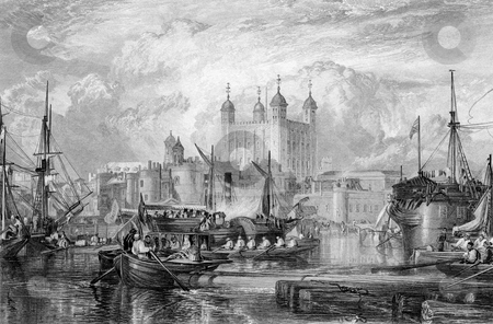 Tower and Port of London stock photo, Tower of London with ships in port on River Thames, England, Engraved by William Miller in 1832. Public domain image by virtue of age. by Martin Crowdy