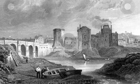 Newport City  stock photo, Engraving of Newport city over River Usk, Monmouthshire, Wales. Engraved by S. Lacey from original work by Gastineau (1791-1876). Published in book, History of Wales by B.B, Woodward, 1853. Public domain image by virtie of age. by Martin Crowdy