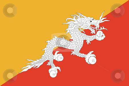 Bhutan Flag stock photo, Sovereign state flag of country of Bhutan in official colors. by Martin Crowdy