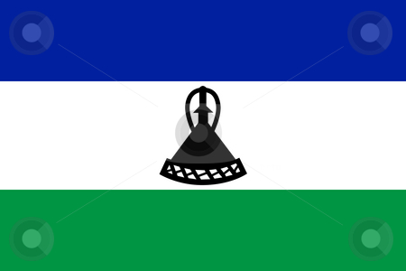 Lesotho Flag stock photo, Sovereign state flag of country of Lesotho in official colors. by Martin Crowdy