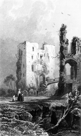 Old English castle stock photo, The Keep of Ragland Castle, Monmouthshire. Drawn by H. Gastineau. Engraved by H. Aldard. Published by B.B. Woodward in book,