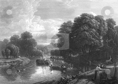 Boating on River Thames stock photo, Scenic engraving of people boating on River Thames near Windsor, England. Engraved by William Miller in 1829, public domain imaghe by virtue of age. by Martin Crowdy