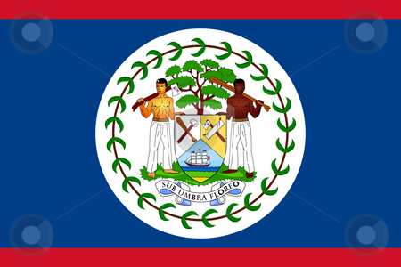 Belize Flag stock photo, Sovereign state flag of country of Belize in official colors. by Martin Crowdy