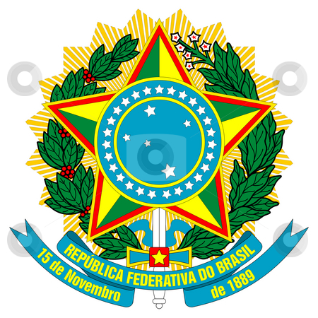 Brazil Coat of Arms stock photo, Brazil, coat of arms, seal or national emblem, isolated on white background. by Martin Crowdy
