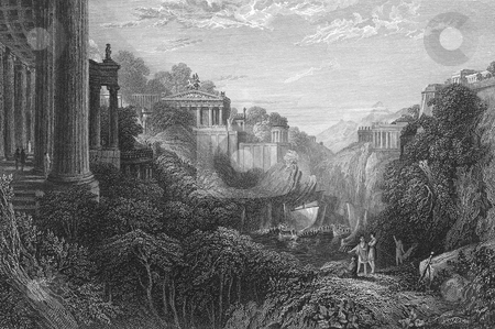Delos Island and harbor Greece stock photo, Scenic view of Ancient Greek island of Delos with buildings and harbor. Engraved by William Miller in 1831, public domain image by virtue of age. by Martin Crowdy