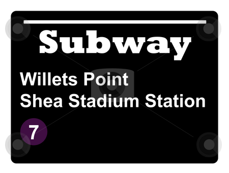 Shea Stadium subway sign stock photo, New York Willets Point Shay Stadium subway train sign isolated on black background. by Martin Crowdy