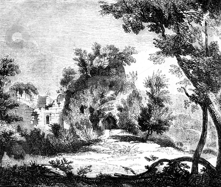 Goodrich castle stock photo, Ruins of Goodrich castle in countryside, Herefordshire, England, Engraving published in book by Charles Knight,