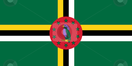 Dominica Flag stock photo, Sovereign state flag of country of Dominica in official colors. by Martin Crowdy