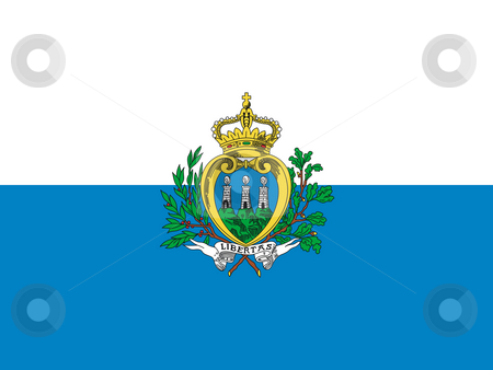 San Marino Flag stock photo, Sovereign state flag of country of San Marino in official colors. by Martin Crowdy