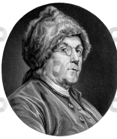 Benjamin Franklin stock photo, Portrait of American founding father Benjamin Franklin in fur cap, white background. From a carbonic alloy engraving, drawn by C. N. Cochin 1777, engraved by A.H. Richie. Public domain image by virtue of age. by Martin Crowdy