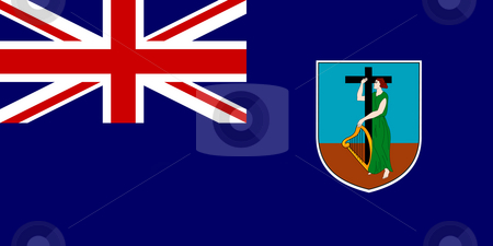 Montserrat Flag stock photo, Sovereign state flag of dependent country of Montserrat in official colors. by Martin Crowdy