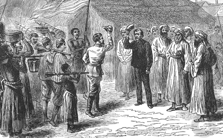 Stanley greets Livingstone stock photo, Illustration of Henry Morton Stanley finding explorer David Livingston in the town of Ujiji on the shores of Lake Tanganyika in 1871. Illustrated for french edition of Hachette in 1876, Paris, France. Public domain image by virtue of age. by Martin Crowdy
