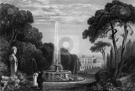 Borghese Palace stock photo, Scenic view of Borghese Palace with water fountain in foreground, Rome, Italy. Engraved by William Miller in 1831, public domain image by virtue of age. by Martin Crowdy