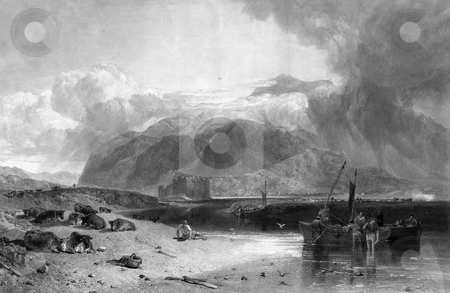 Loch Awe and Kilchburn Castle stock photo, Engraving of Kilchurn Castle and Loch Awe in Scotland. Engraved by William Miller after J M W Turner, Rawlinson in 1847. Public domain image by virtue of age. by Martin Crowdy