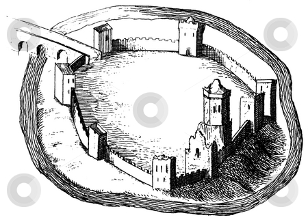 Oxford Castle stock photo, Engraving of Oxford castle showing it in the 11th century, Published in book by Anthonmy Wood,