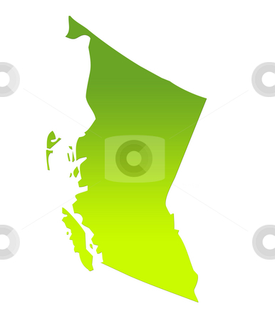 British Columbia map stock photo, British Columbia province of Canada map in gradient green, isolated on white background. by Martin Crowdy