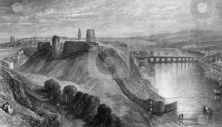 Berwick-Upon-Tweed stock photo, Engraving of Berwick-upon-Tweed town river and castle, Scotland, Engraved by William Miller in 1833, public domain image by virtie of age. by Martin Crowdy