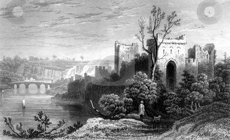Chepstow Castle stock photo, Engraving of Chepstow Castle ruins on River Wye, Monmouthshire, Wales. Drawn by H. Gastineau. Engraved by H. W. Bond. Published by B.B.Woodward in book A History of Wales in 1853. Public domain image by virtue of age. by Martin Crowdy