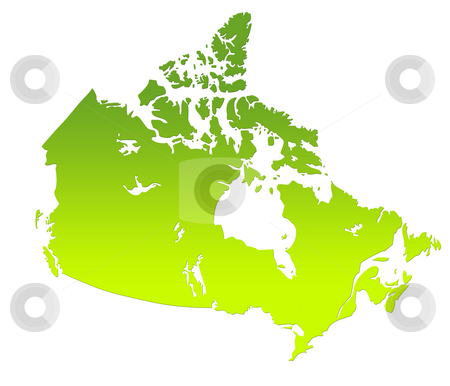 Canada map stock photo, Canada map in gradient green, isolated on white background. by Martin Crowdy