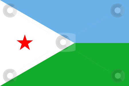 Djibouti Flag stock photo, Sovereign state flag of country of Djibouti in official colors. by Martin Crowdy