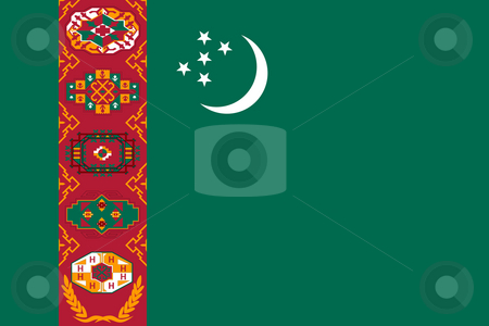 Turkmenistan Flag stock photo, Sovereign state flag of country of Turkmenistan in official colors. by Martin Crowdy