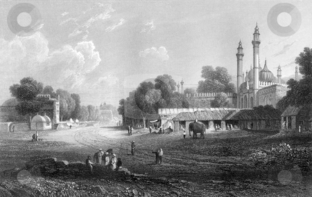 Delhi India stock photo, Scenic view of city of Delhi in India. Engraved in 1833 by William Miller, public domain image by virtue of age. by Martin Crowdy