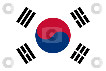 South Korea flag stock photo, Sovereign state flag of country of South Korea in official colors. by Martin Crowdy