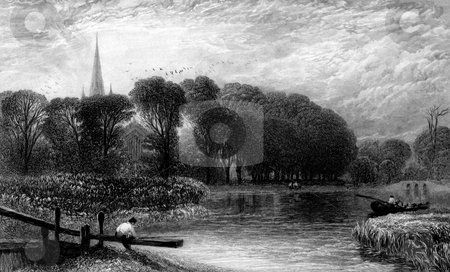 Stratford-Upon-Avon stock photo, Engraving of boat on river Avon, Stratford-Upon-Avon, Warwickshire, England. Engraving by William Miller after Birket Foster, unpublished, 1868. by Martin Crowdy