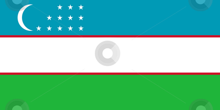 Uzbekistan Flag stock photo, Sovereign state flag of country of Uzbekistan in official colors. by Martin Crowdy