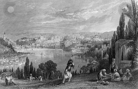 Constantinople stock photo, View of ancient Constantinople, modern day Istanbul, Turkey. Engraved by William Miller in 1847. Public domain image by virtue of age. by Martin Crowdy