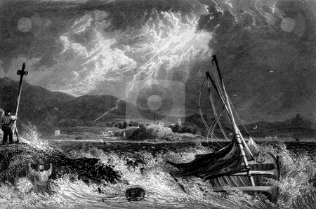 Shipwreck in storm stock photo, Shipwreck in storm with Dunoon town in background, Cowal Peninsula, Argyll, Scotland. Engraved by William Miller, in 1830. by Martin Crowdy