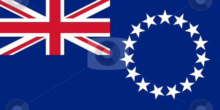 Cook Islands stock photo, Sovereign state flag of dependent country of Cook Islands in official colors. by Martin Crowdy