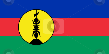 New Caledonia Flag stock photo, Sovereign state flag of dependent country of New Caledonia in official colors. by Martin Crowdy