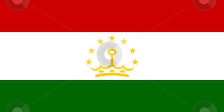 Tajikistan Flag stock photo, Sovereign state flag of country of Tajikistan in official colors. by Martin Crowdy