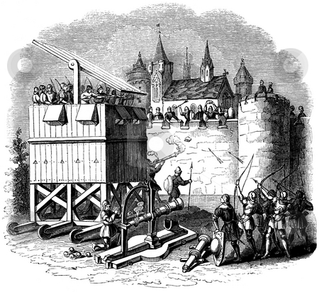 Medievel seige engine stock photo, Medievel seige engine tower attacking castle, Publushed by Charles Knight in book,