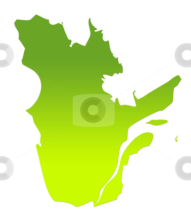 Quebec map stock photo, Quebec province of Canada map in gradient green, isolated on white background. by Martin Crowdy