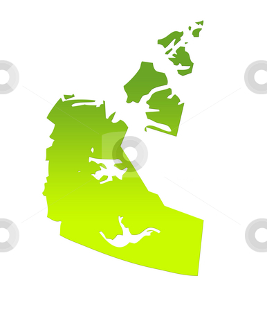 Northwest Territories map stock photo, Northwest Territories province of Canada map in gradient green, isolated on white background. by Martin Crowdy