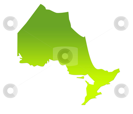 Ontario map stock photo, Ontario province of Canada map in gradient green, isolated on white background. by Martin Crowdy
