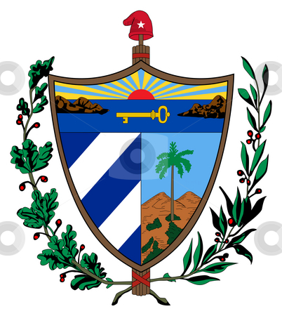 Cuba Coat of Arms stock photo, Cuba coat of arms, seal or national emblem, isolated on white background. by Martin Crowdy