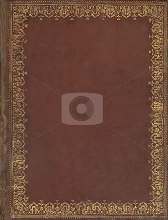 Olb book cover with floral border. stock photo, Old brown leather book cover with gold floral tooling border pattern. Book is scan of Geneva Bible published in 1581. Public domain image by virtue of age. by Martin Crowdy