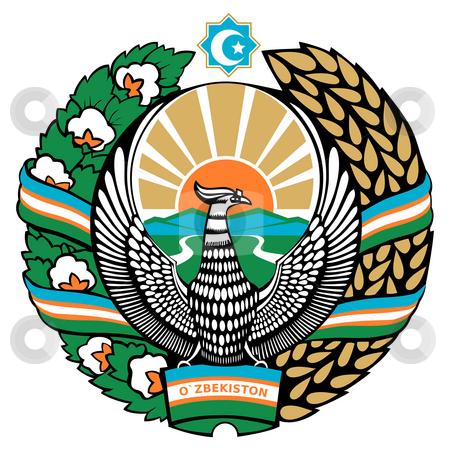 Uzbekistan Coat of Arms stock photo, Uzbekistan coat of arms, seal or national emblem, isolated on white background. by Martin Crowdy