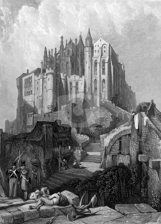 Mont Saint-Michel  stock photo, Scenic view of Mont Saint-Michel, Normandy, France. Engraved by William Miller in 1834, public domain image by virtue of age. by Martin Crowdy