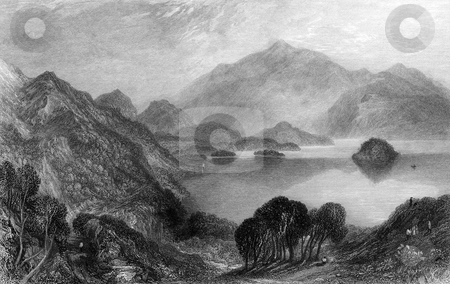 Loch Katrine stock photo, Engraving of Loch Katrine, Stirling, Scotland. Engraved by William Miller in 1833. Public domain image by virtue of age. by Martin Crowdy
