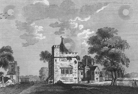 Old English Manor House stock photo, Engraving of the Old fortified Kitchen Manor House at Stanton Harcourt, in Oxfordshire, England. Published by Henry Boswell in,  by Martin Crowdy