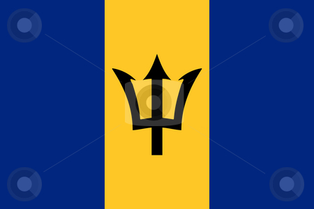 Barbados Flag stock photo, Sovereign state flag of country of Barbados in official colors. by Martin Crowdy